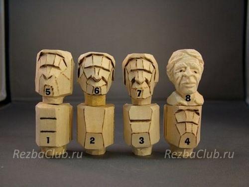 Голова мужчины из дерева за 8 шагов