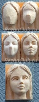 Женское лицо из дерева