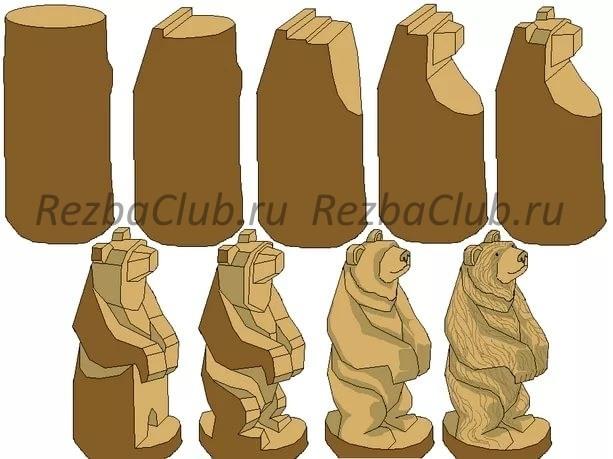 #57 Медведь из бревна. Пропорции и объемы