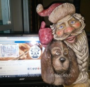 Новогоднее панно с Дедом Морозом из дерева