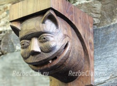 Как вырезать из дерева консоль с головой животного напоминающего кота