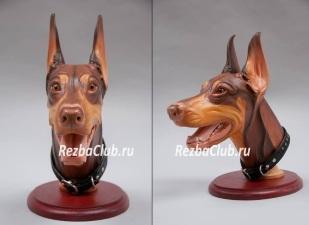 Как вырезать из дерева и раскрасить собачью голову добермана