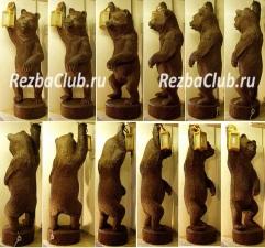 Как из бревна вырезать скульптуру медведя держащего фонарь