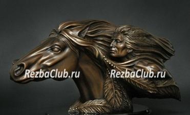 Как вырезать из дерева скульптуру индейца на коне