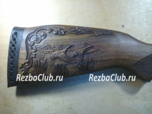 Приклад ружья с утками