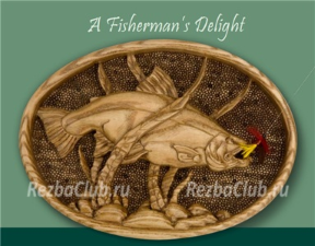 Мечта рыбака - овальное панно